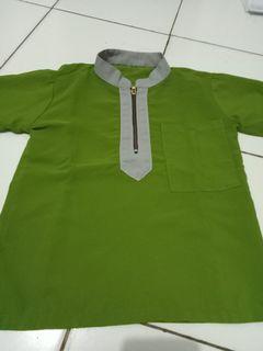 Baju koko anak olive-grey ukuran 4-5 th