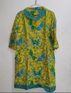 Batik Bali Yellow Midi Dress Mididress