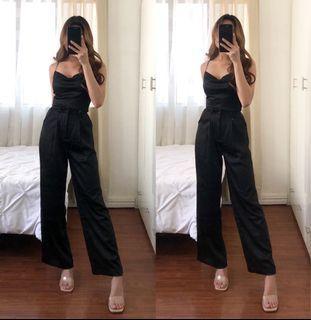 Black Premium Silky Wide Leg Pants