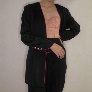 Blazer hitam black pink lined vintage