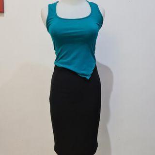 Blue tank top Skirt/rok sepan office preloved like new