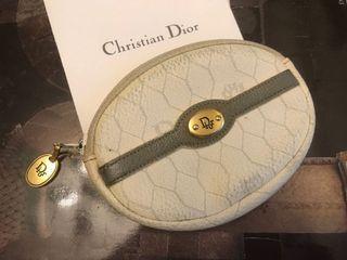 Christian Dior 法國製 米白 橢圓形 零錢包