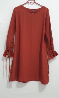 Coral dress (size L-XL), bs utk bumil