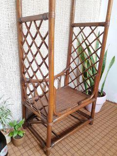 Cottagecore/ boho Arched Rattan clothing rack with drawer and wheels