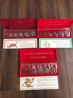 D007 - Singapore 1986 / 1987 / 1988 Uncirculated Coins Sets (3 sets)