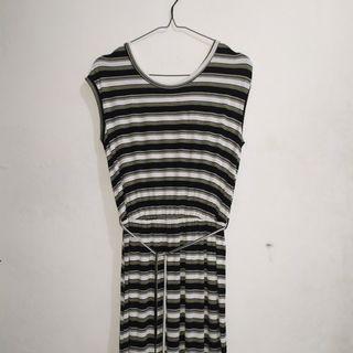 Dorothy Perkins Long Green Black Stripe Dress Longdress