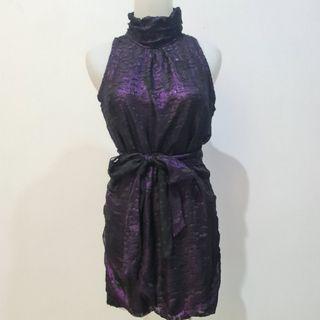 Dress turtle neck purple with belt preloved