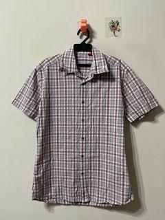 Esprit 方格條紋刺繡短袖襯衫