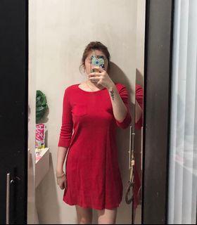 Hush Puppies red dress long sleeve