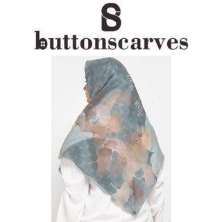 [LEBIH TERJANGKAU-NEW BOX LENGKAP] Buttonscarves - Ginkgo Series Voile Square XL / Jumbo - Pictachio