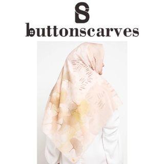 [LEBIH TERJANGKAU-NEW BOX LENGKAP] Buttonscarves - Ginkgo Series Voile Square XL / Jumbo - Buttercream
