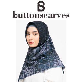 [LEBIH TERJANGKAU-NEW BOX LENGKAP] Buttonscarves - Maharani Series Voal Square XL / Jumbo - Navy