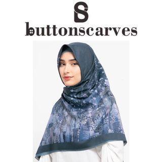 [LEBIH TERJANGKAU-NEW BOX LENGKAP] Buttonscarves - New York Reborn x Allyssa Hawadi Series Voal Square XL / Jumbo - Dumbo
