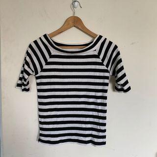 專櫃品牌lowarys farm條紋條文坑條造型設計款百搭顯瘦修身質感短袖T恤上衣出清特價