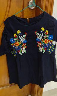 Navy top embroidery