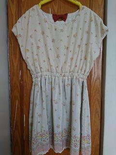 OLIVEdesOLIVE雙面穿玫瑰花園/布蕾絲直條紋雪紡短洋裝