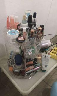 rak akrilik makeup, skincare putar 360 derajat