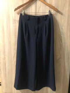 Uniqlo 優衣庫 海軍深藍 雪紡寬褲 九分寬褲 闊腿褲 西裝寬褲 褲裙 女M
