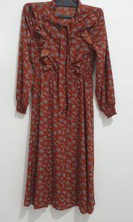 Vintage dress terracota