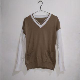 Unisex White Brown Knit Sweater