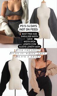 white, dark grey, black, khaki knitted rajut hollow sweater/arm warmers/cardigan/kardigan
