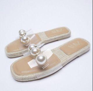 ZARA Clear Strap Pearl Espadrille Sandals