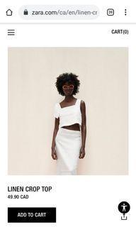 Zara white linen crop too