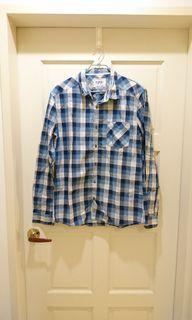 #618 Esprit 100%純棉 藍色格紋休閒襯衫