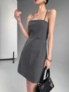 平口修身細千鳥格紋細肩帶短洋裝
