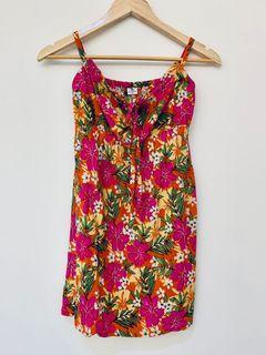 夏日熱帶扶桑花綁帶細肩帶洋裝