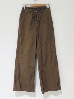 咖啡色棕色牛仔寬褲