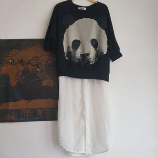無肩線限制蝴蝶結熊貓假兩件上棉質下雪紡長版上衣