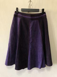 專櫃拼接紫燈芯絨復古古著及膝裙