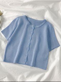 🔗寶寶藍針織短版排扣短袖上衣