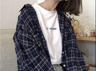🔗深藍韓版排扣長格子襯衫
