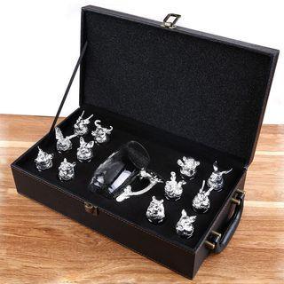 十二生肖白酒杯套装分酒器水晶玻璃中式酒具一口杯家用皮箱裝