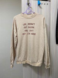 轉賣 小店購入 薄款 長袖上衣 大學t  燕麥 衛衣 連帽 t恤 出清 奶茶 #女裝賣家 #618