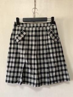 專櫃黑白格子微百褶短裙 M號
