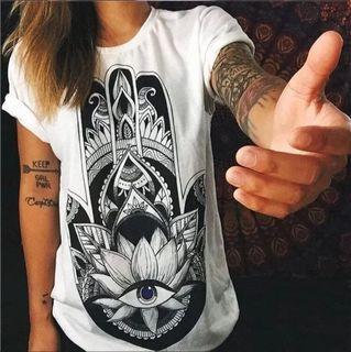 🆕 百搭個性白T恤上衣 size:L #618