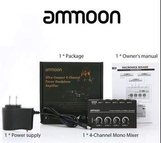 Ammoon Ultra-Compact 4-Channel Stereo Headphone Amplifier