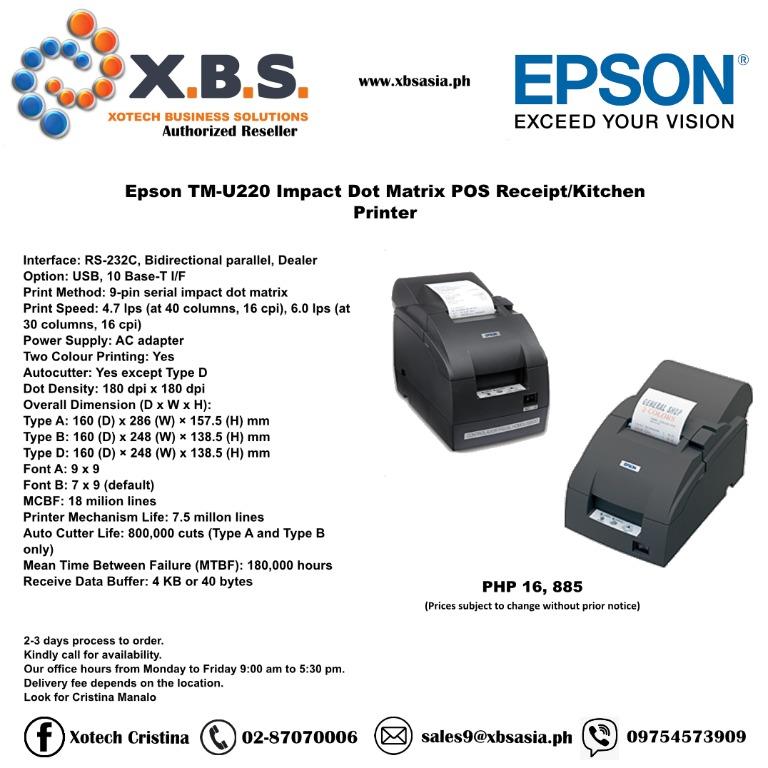 Epson Tm U220 Impact Dot Matrix Pos Receipt Kitchen Printer Computers Tech Printers Scanners Copiers On Carousell
