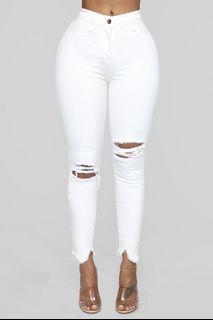 Fashion Nova White Distressed Jeans
