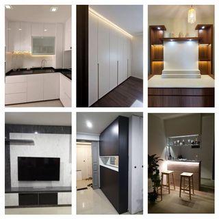 Full Carpentry service, Customised Kitchen Cabinet, Wardrobe, Altar, TV Console, Shoe Cabinet, Bar Counter, Platform bed etc