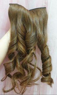 Hair clip  60cm human hair 100% light brown tebel rambut asli
