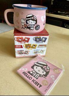全新正版Hello Kitty仿琺瑯造型杯碗組(附杯墊)