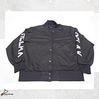 "Jacket Varsity Faux Leather Black Premium ""Van Ake"" Korea Second"