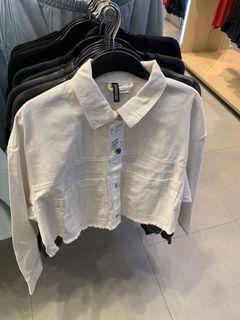 Jastip H&M Denim White Crop Jacket