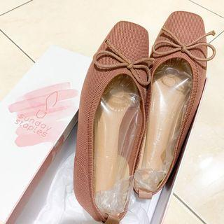 Knit Flat Shoes -dusty Pink