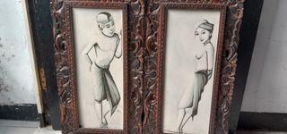 Lukisan kanvas sepasang pemuda-pemudi bali