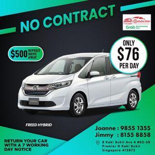 No Contract - Honda Freed Hybrid           (Grab Fleet Partner PHV Car Rental)
